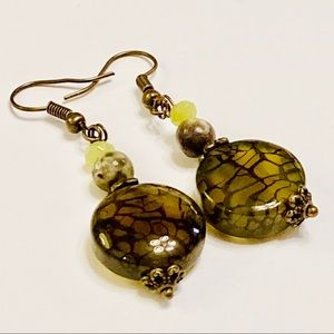 Olive Dragon's Vein's Agate & Jasper Earrings